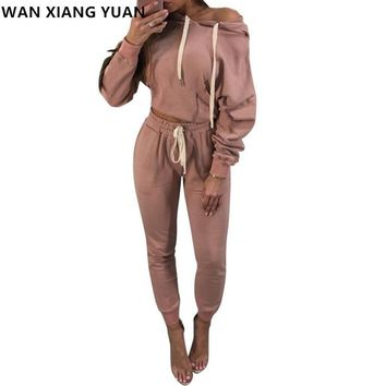 Womens Two Piece Sets 2017 Winter Casual Women Full Tracksuit Crop Top + Pants Ladies Long Sleeve Sweat Suits Women 2 Piece Set