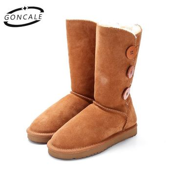 GONCALE Fashion Women winter snow boots genuine leather Black high female winter boots