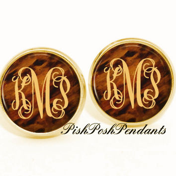 Tortoise Shell Monogram Earring, Monogram Stud Earrings, Monogram Jewelry (493)