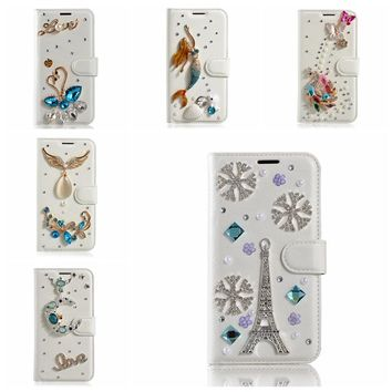 Bling Diamond Wallet PU Case For iPhone 7 Plus 8 Plus Case Crystal Flower Handmade DIY Leather Flip Case for iPhone 8 Plus Case