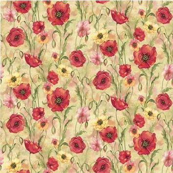 Susan Winget Fabric, Premium Quilt Fabric, Poppies Poppy Garden Yardage F2001