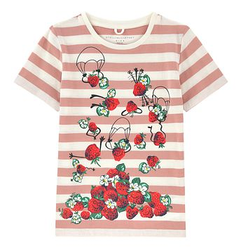 Stella McCartney Baby Girls Pink Striped Strawberry T-Shirt