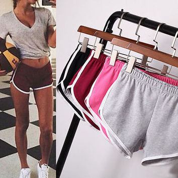 Women Girl Sports Shorts Running Gym Fitness Short Pants Workout Beach Casual @