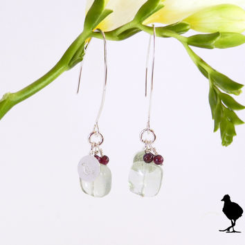 Hammered Sterling Silver slim drop earrings. Square Green Fluorite drop with garnet and birdie charm