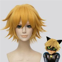 High Quality Anime Miraculous Ladybug Adrien / Cat Noir Cosplay Wigs Golden Blonde Heat Resistant Synthetic Hair Wig +Wig Cap