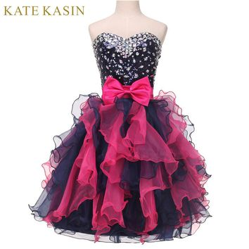 High School Short Homecoming Dresses Knee Length Girls Cocktail Dress Crystal Beading Ball Gown Cute Formal Dresses for Teens