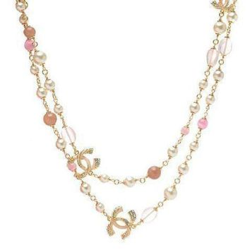 DCCKNQ2 Chanel Woman Fashion Logo Pearls Necklace For Best Gift-11