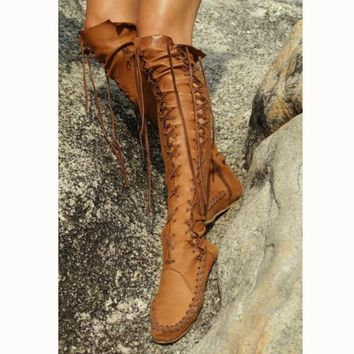 Fashion Show Thin Lace Up Type Knot Knee High Flat Boots Brown