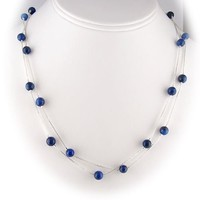 Blue Lapis Stone Beads Sterling Silver Box Chain Necklace 40 Inch
