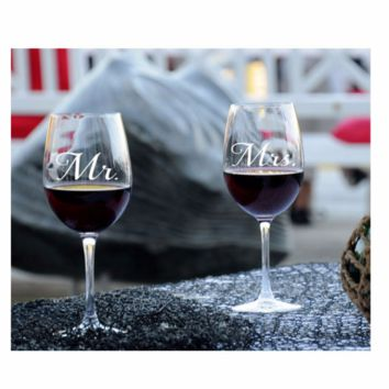 Wine Glass Set - Mr & Mrs, Mr & Mr, Mrs & Mrs Handmade Wine Glass
