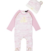 Peony Baby 2Pc Ziger Print Hat And Jumpsuit Set by Juicy Couture,