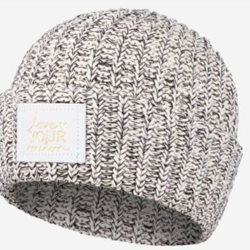 Love Your Melon Black Speckled Cuffed Beanie (White Gold Foil Patch)