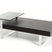 Modrest Caliber Modern Wenge and Glass Coffee Table