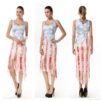 Women Ladies Stars Stripe Maxi Dress Tassels 4th of July Party Independence Day plus size women clothing Sleeveless Maternity Print Dresses
