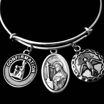 Confirmation Jewelry Saint Rita Expandable Charm Bracelet Silver Adjustable Bangle Medal Catholic Gift Dove