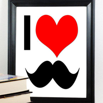 Mustache Art, I Heart Mustache, Digital Art Print, Red Love Print, Mustache Poster, Red Art, Buy TWO Get ONE FREE, Unframed