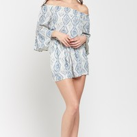 Blue Moon Maiden Ikat-Printed 3/4 Bell Sleeved Romper