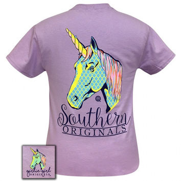 Girlie Girl Originals Preppy Unicorn Pattern T-Shirt