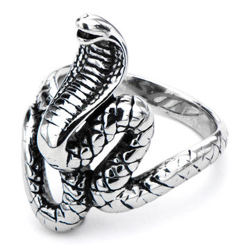 Inox 316L Steel Hooded Naja Cobra Biker Ring