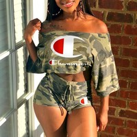 Champion Tide brand female models sexy word shoulder letter printing short sleeve two-piece