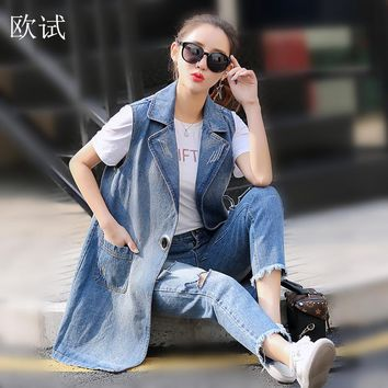 Plus Size Sleeveless Denim Long Vest Jacket Women Colete Jeans Gilet Coat Veste Femme Women Clothing Bts Casaco Feminino Weste
