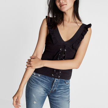 Corset Front Double V-Neck Sweater