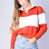 Perta Color Block Zip Pull Over Sweatshirt