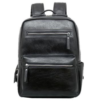 14 inch fashion multi-functional laptop book outer door travel leather backpack shopping school college big capacity chic bags