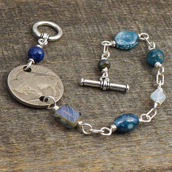 Buffalo coin bracelet, silver, blue beads US nickel, wirewrapped jewelry, 7 1/4 inches