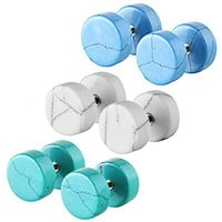 High Quality Stainless Steel Round Gemstone Fake Cheater Illusion Tunnel Ear Plug Gauge Screw Stud Earrings