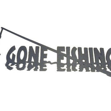 Gone Fishing Metal Wall Art Home Decor