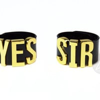"HARLEY QUINN ""YES SIR"" Cuff Bracelets Pair - XL - Gold"
