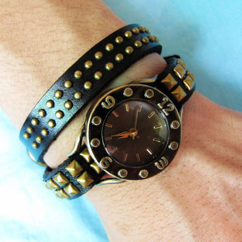 Vintage Style Black Leather Bangle with Bronze Rivet Women Leather Cuff Women Watch  1369A