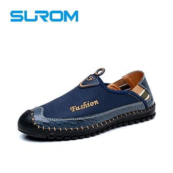 Men's Loafers Fashion Quality Handmade Slip on Casual Shoes Thread Stitching Platform Flats Soft sole Breathable Moccasins