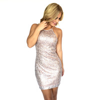 Moving On Sequin Dress In Blush