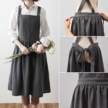 Cooking apron Simple Washed Cotton Uniform  Aprons for Woman Kitchen apron Cooking Coffee Shop apron for women