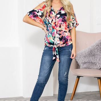 Button Decor Neon Cold Shoulder Top