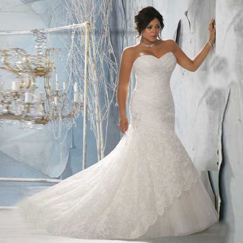 Top Online Mermaid Sweetheart Bridal Gown Sleeveless Strapless Lace Plus Size Wedding Dress Bery Dress