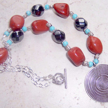 Red Coral and Turquoise Necklace, Red and Turquoise Necklace, Silver Circle Pendant Necklace, Red Nugget Necklace