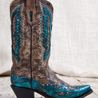 Corral Boots® Turquoise Eagle Overlay With Studded Inlay