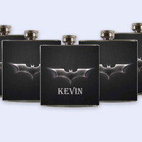 Personalized Custom Wedding Party Flask, Unique Batman Flask Set
