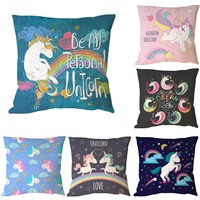 Various Animal Unicorn Print Custom Cushion Cover Party Supplies Cartoon Throw Pillow Case For Home and Sofa Chair Decoration
