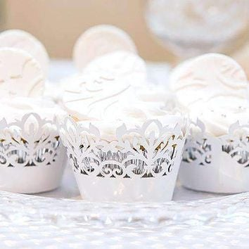 Classic Damask Filigree Paper Cupcake Wrappers White Shimmer (Pack of 12)