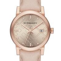 Women's Burberry Round Diamond Dial Leather Strap Watch, 34mm - Nude/ Rose Gold