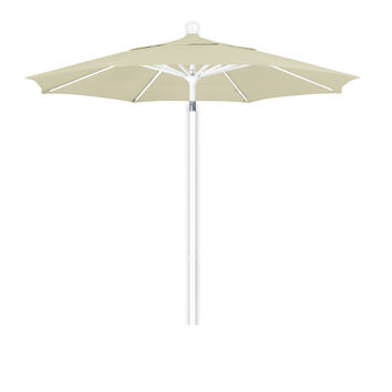 7 1/2 Foot Sunbrella 4A Fabric Aluminum Pulley Lift Patio Patio Umbrella with White Pole