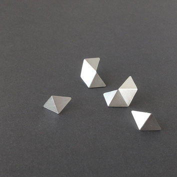 Set of 4 Stud Silver Earrings, Geometric Stud Earrings Set, Minimalist Silver Earrings, Small Pentagon Stud, Statement Silver Earrings