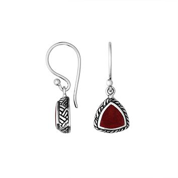 AE-6217-CR Sterling Silver Trillion Shape Earring With Coral