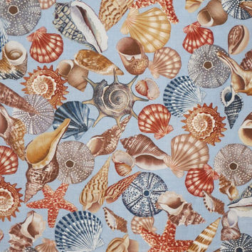 Rusts and Blues Allover Shell Print Pure Cotton Fabric from Benartex--One Yard