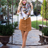 Button Up Suede Camel Skirt