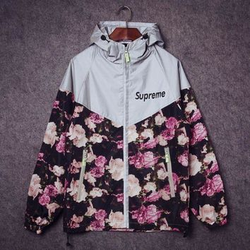 shosouvenir £º Supreme Fashion Print Zipper Long Sleeve Cardigan Jacket Coat Windbreak